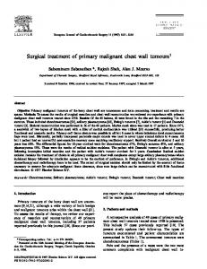Surgical treatment of primary malignant chest wall tumours 1