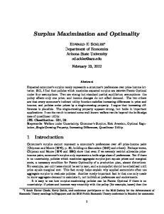 Surplus Maximization and Optimality