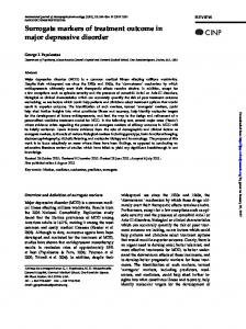 Surrogate markers of treatment outcome in major depressive disorder