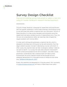 Survey Design Checklist
