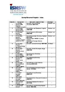Survey Monument Register - Index
