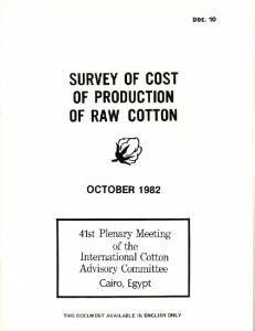 SURVEY OF COST OF PRODUCTION OF RAW COTTON