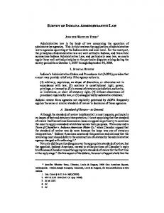 SURVEY OF INDIANA ADMINISTRATIVE LAW