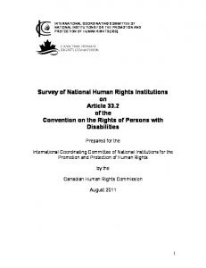 Survey of National Human Rights Institutions on Article 33.2 of the Convention on the Rights of Persons with Disabilities
