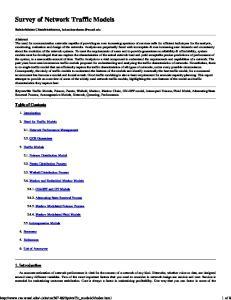 Survey of Network Traffic Models