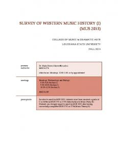 SURVEY OF WESTERN MUSIC HISTORY (I) (MUS 2053)