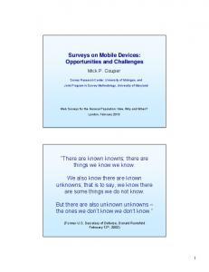 Surveys on Mobile Devices: Opportunities and Challenges