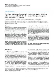 Survival analysis of metastatic colorectal cancer patients who were treated with the five major therapeutic agents over the course of disease