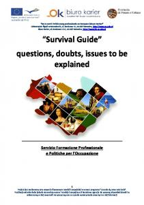 Survival Guide questions, doubts, issues to be explained