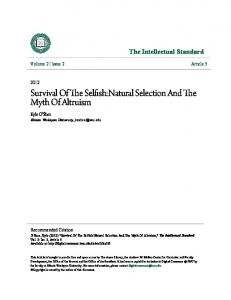 Survival Of The Selfish:Natural Selection And The Myth Of Altruism