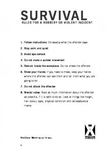 SURVIVAL RULES FOR A ROBBERY OR VIOLENT INCIDENT