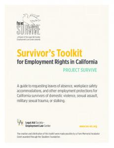 Survivor s Toolkit. for Employment Rights in California PROJECT SURVIVE