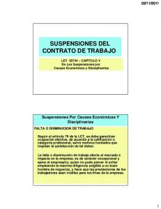 SUSPENSIONES DEL CONTRATO DE TRABAJO
