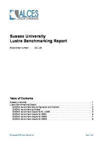 Sussex University Lustre Benchmarking Report