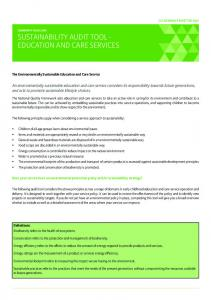 SUSTAINABILITY AUDIT TOOL - EDUCATION AND CARE SERVICES