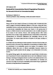 Sustainability Communications Beyond Organisational Boundaries