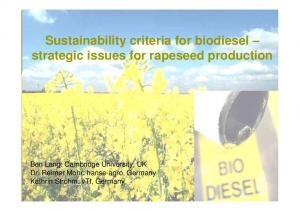 Sustainability criteria for biodiesel strategic issues for rapeseed production
