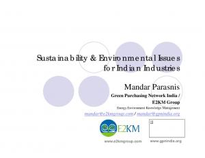 Sustainability & Environmental Issues for Indian Industries