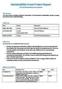 Sustainability Grant Project Report