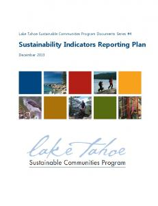 Sustainability Indicators Reporting Plan