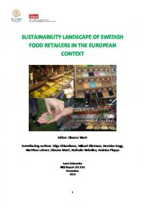 SUSTAINABILITY LANDSCAPE OF SWEDISH FOOD RETAILERS IN THE EUROPEAN CONTEXT