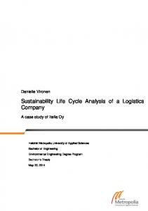 Sustainability Life Cycle Analysis of a Logistics Company
