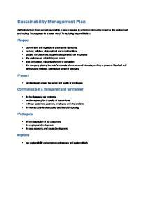 Sustainability Management Plan