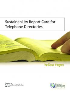 Sustainability Report Card for Telephone Directories. Yellow Pages