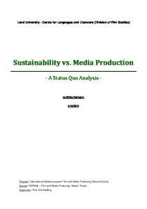 Sustainability vs. Media Production