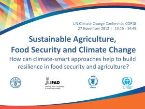 Sustainable Agriculture, Food Security and Climate Change How can climate-smart approaches help to build resilience in food security and agriculture?
