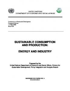 SUSTAINABLE CONSUMPTION AND PRODUCTION: ENERGY AND INDUSTRY