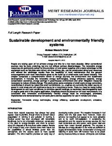 Sustainable development and environmentally friendly systems