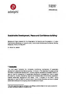 Sustainable Development, Peace and Confidence-building 1