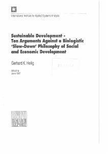 Sustainable Development Ten Arguments Against a Biologistic