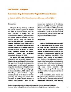 Sustainable drug development for Neglected Tropical Diseases