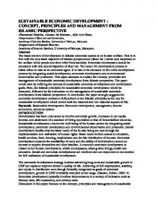 SUSTAINABLE ECONOMIC DEVELOPMENT : CONCEPT, PRINCIPLES AND MANAGEMENT FROM ISLAMIC PERSPECTIVE