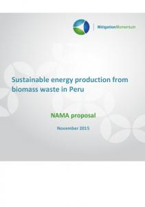 Sustainable energy production from biomass waste in Peru. NAMA proposal