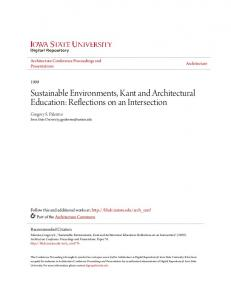Sustainable Environments, Kant and Architectural Education: Reflections on an Intersection