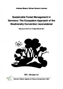 Sustainable Forest Management in Germany: The Ecosystem Approach of the Biodiversity Convention reconsidered