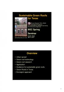 Sustainable Green Roofs for Texas