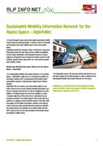 Sustainable Mobility Information Network for the Alpine Space AlpInfoNet