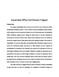 Sustainable Office Certification Program