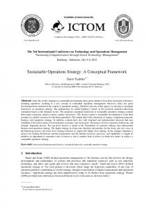 Sustainable Operations Strategy: A Conceptual Framework