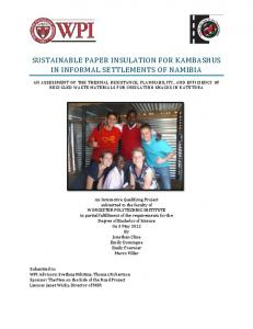 SUSTAINABLE PAPER INSULATION FOR KAMBASHUS IN INFORMAL SETTLEMENTS OF NAMIBIA
