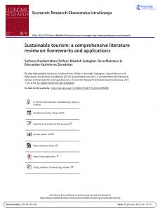 Sustainable tourism: a comprehensive literature review on frameworks and applications