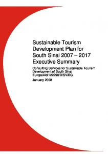 Sustainable Tourism Development Plan for South Sinai Executive Summary