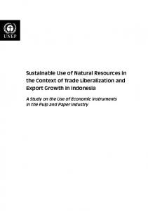 Sustainable Use of Natural Resources in the Context of Trade Liberalization and Export Growth in Indonesia