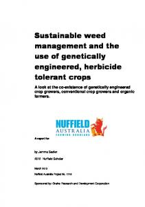 Sustainable weed management and the use of genetically engineered, herbicide tolerant crops