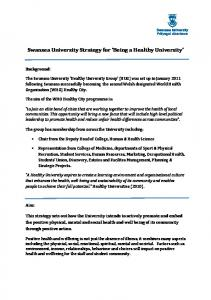 Swansea University Strategy for Being a Healthy University