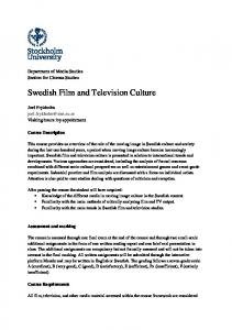 Swedish Film and Television Culture